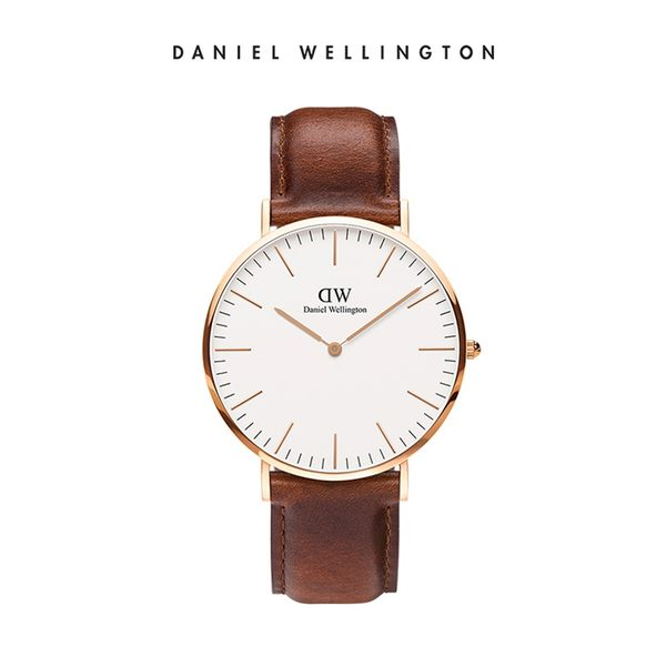 Daniel Wellington DW 手錶 40mm玫瑰金框 Classic 棕色真皮皮革錶