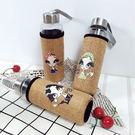 水杯 幸運女郞麻布玻璃水杯(400ML) 附贈麻布杯套 便攜提手 隨身瓶 玻璃瓶    【KCG156】-收納女王