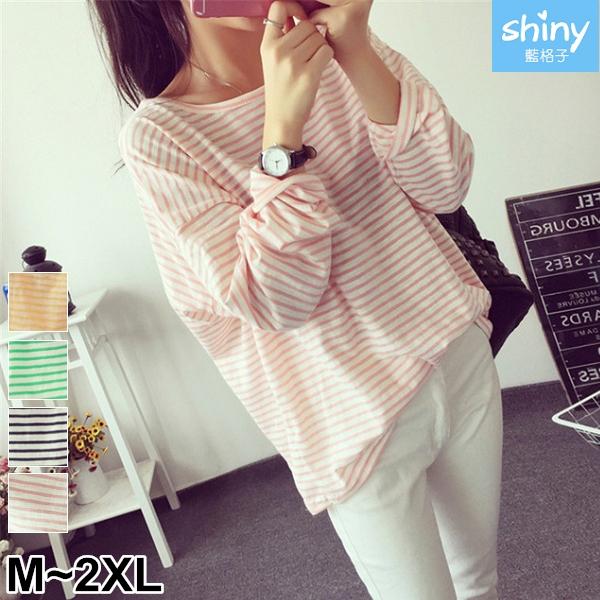 【V2669-1】shiny藍格子-瑕疵特賣.百搭圓領寬鬆條紋長袖上衣