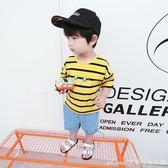 夏裝新款男童短袖女t恤寶寶條紋體恤衫嬰兒上衣兒童半袖上衣艾美時尚衣櫥