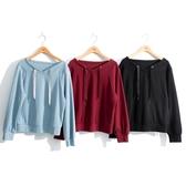 秋冬新品[H2O]造型落肩綁帶領針織上衣 - 紅/黑/淺藍色 #0651012