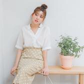 MUMU【T59790】造型V領蕾絲雪紡上衣