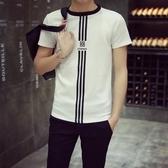 短袖T恤 純棉-簡約直條休閒時尚男上衣2色73ms38【巴黎精品】