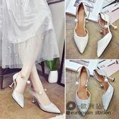 涼鞋/女夏季尖頭淺口細跟高跟鞋一字扣包頭「歐洲站」
