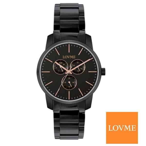 LOVME 薄型玫瑰金三眼黑鋼錶x43mm 藍寶石水晶鏡面 VL0016M-33-241|名人鐘錶高雄門市