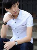 夏季男士短袖襯衫男休閒寸衫韓版修身時尚潮流帥氣青少年印花襯衣   圖拉斯3C百貨