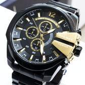【萬年鐘錶】DIESEL 潮牌 霸氣 三眼 計時碼錶  黑錶面 黑殼 超大錶徑 59mm DZ4338