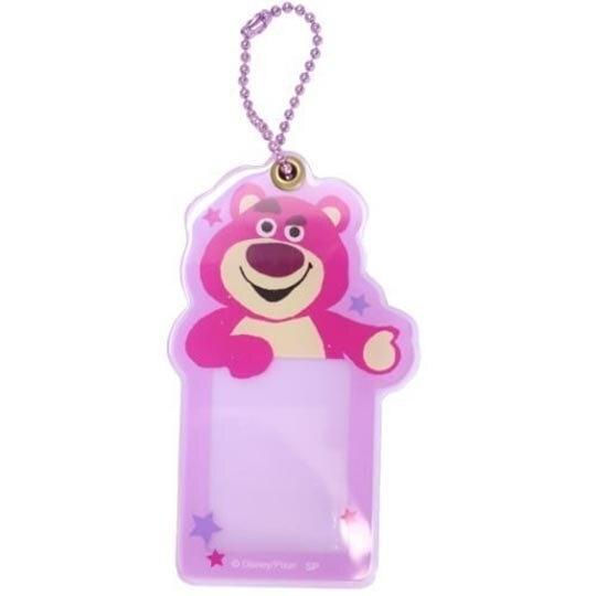小禮堂 迪士尼 熊抱哥 造型壓克力相片吊飾 相框鑰匙圈 相片吊飾 (桃紫 大臉) 4548626-12700