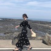 大碼女裝2019新款胖妹妹洋氣遮肚子黑色波點顯瘦藏肉連身裙長裙夏聖誕交換禮物