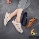鏤空復古牛皮包頭中老年涼鞋女平底女式媽媽鞋夏季真皮軟底洞洞鞋【創世紀生活館】
