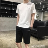 男士套裝夏季冰絲運動套裝潮流韓版休閒帥氣一套男短袖t恤兩件套 poly girl