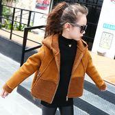 羽絨外套 新品冬裝女童加絨外套兒童中大童正韓拼接加厚鹿皮絨短款上衣
