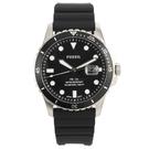 FOSSIL 黑色日期錶盤矽膠錶帶男腕錶...