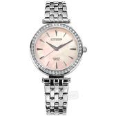 CITIZEN 星辰表 / ER0210-55Y / 耀眼晶鑽 礦石強化玻璃 日本機芯 不鏽鋼手錶 粉色 30mm