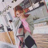 圍巾/披肩 韓版百搭格子仿羊絨圍巾女冬季超大披肩兩用長款加厚