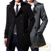 秋冬季男士風衣修身韓版潮流大衣毛呢雙排扣外套【繁星小鎮】