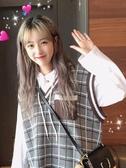 V領無袖毛衣馬甲女秋裝新款韓版學生寬鬆中長款針織坎肩背心  極有家
