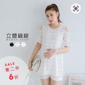*蔓蒂小舖孕婦裝【M11678】*韓國製.露肩荷葉袖織紋棉長版上衣