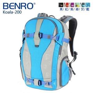 【聖影數位】BENRO 百諾 考拉系列 雙肩攝影背包 Koala 200 含防雨罩 黑/灰/藍/紅/綠/紫
