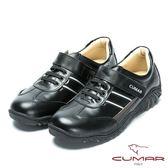 CUMAR MIT台灣製造 全真皮舒適魔術貼休閒鞋-黑色