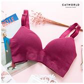 Catworld 零束縛。透氣棉布菱格無鋼圈內衣(紫紅)【18800850】‧S/M/L