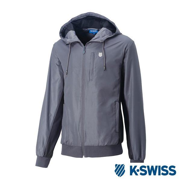 K-SWISS Contrast Side Panel Windbreaker風衣外套-女-灰