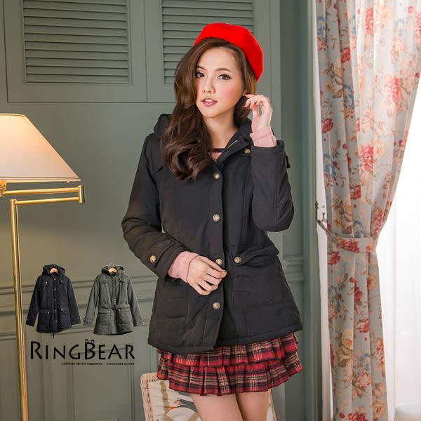 外套--厚實而保暖風衣式連帽造型釦附腰帶鋪棉長版外套(黑.綠M-2L)-J204眼圈熊中大尺碼