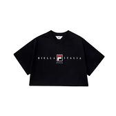 FILA 女款黑色短版圓領休閒短袖上衣 5TEV-1508-BK