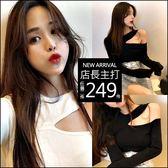 克妹Ke-Mei【AT48147】歐美心機女 性感顯瘦摟空吊頸造型上衣