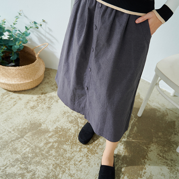 【慢。生活】裙襬開衩釦飾長裙 465 FREE深灰
