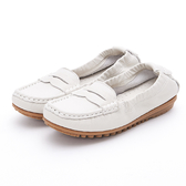MICHELLE PARK 輕時尚舒適彈力牛皮馬克縫休閒鞋平底鞋-米白