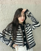 依酷衫 韓版復古開衫設計感圓領寬松針織外套