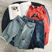 【年終】全館大促男士牛仔短褲寬鬆破洞學生五分褲男褲正韓潮流個性帥氣褲子男