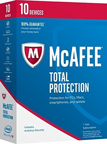 [106美國直購] 2017美國暢銷軟體 McAfee 2017 Total Protection-10 Devices [Key Code] (10-Users)