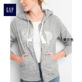 Gap女裝 Logo系列舒適毛圈布金屬感拉鏈連帽長袖休閒外套 215892-雜灰色