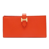 HERMES 愛馬仕 Bearn Wallet Orange Poppy罌粟花橘色長夾 T刻金釦 Epsom【BRAND OFF】