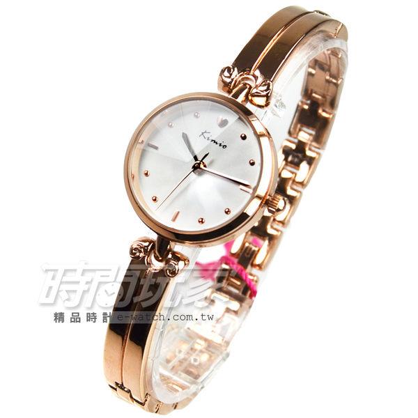 Kimio金米歐 簡約時刻玫瑰金氣質腕錶 防水手錶 手鍊錶 玫瑰金電鍍 女錶 K6041玫