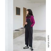 新款美式原牛寬鬆牛仔背帶褲連體褲減齡高腰闊腿牛仔長褲女 亞斯藍