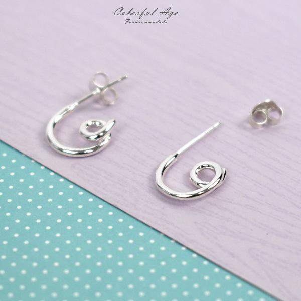 純銀耳環 俏皮曲線拐杖耳針銀飾NPD222