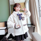 韓版外套中大童上衣 兒童棉服加絨夾克外套 女孩洋氣時尚棉衣女童外套 羊羔絨羽絨外套秋冬棉襖
