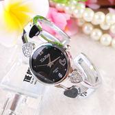 【優選】簡約氣質心形女士手鐲表潮流行女士學生手表