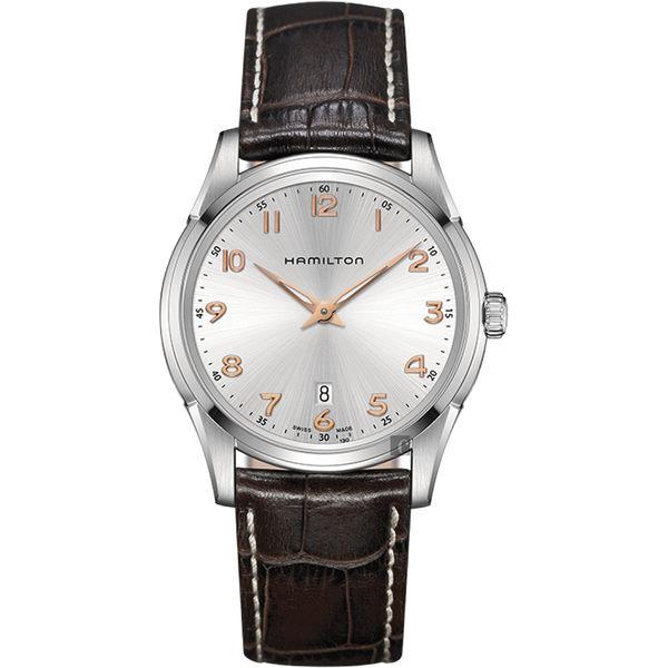 Hamilton漢米爾頓 JAZZMASTER 經典石英錶-銀x咖啡/42mm H38511513