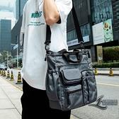 多功能側背包斜背包時尚休閒手提包商務大容量男背包【邻家小鎮】
