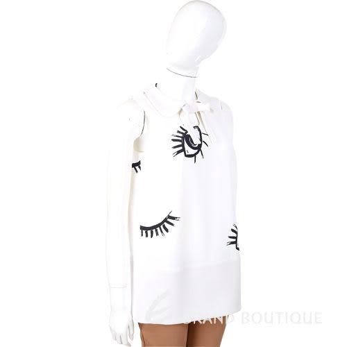 ELISABETTA FRANCHI 白色 娃娃領 蝴蝶結飾 眼睛圖案 無袖上衣 1320529-20