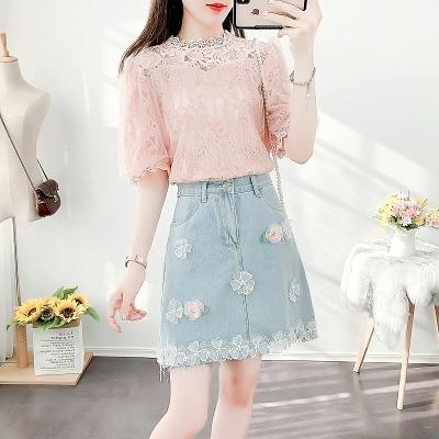 短袖套裝~3710#名媛宮廷風洋氣蕾絲衫立體花朵裝飾牛仔半身裙套裝H311-E胖妞衣櫥