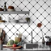 廚房防油貼紙北歐風格牆貼畫簡約黑白格子壁紙耐高溫瓷磚自黏牆紙 雙十一全館免運