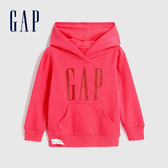 Gap女幼童 Logo活力亮色連帽休閒上衣 618794-粉紅色