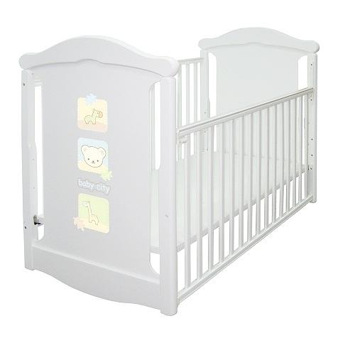 Baby City 動物熊搖擺中大床(白色)+床墊BB49038WR[衛立兒生活館]
