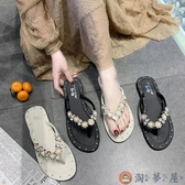 夾腳拖鞋女夏季韓版百搭水鉆平底人字拖【淘夢屋】