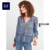 Gap女裝 荷葉邊下擺花卉印花長袖上衣 282260-藍色花朵圖案